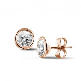 1.50 carat diamond satellite earrings in red gold