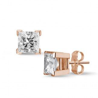 2.00 carat diamond princess earrings in red gold