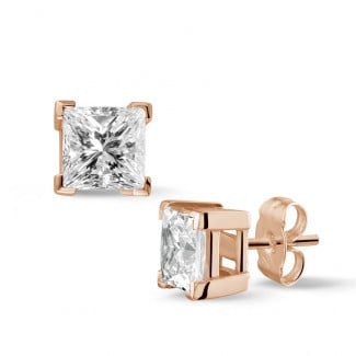 2.50 carat diamond princess earrings in red gold