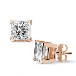 3.00 carat diamond princess earrings in red gold
