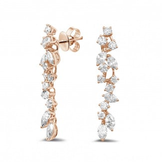 Artistic - 2.70 carat earrings in red gold with round and marquise diamonds