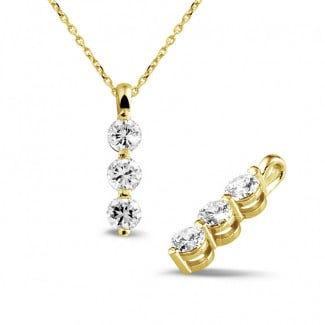 1.00 carat trilogy diamond pendant in yellow gold
