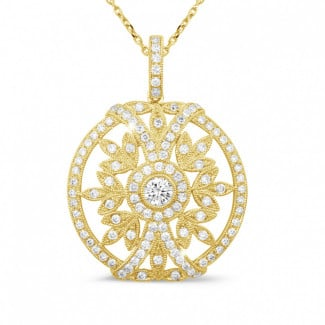 Yellow Gold Diamond Necklaces - 0.90 carat diamond pendant in yellow gold