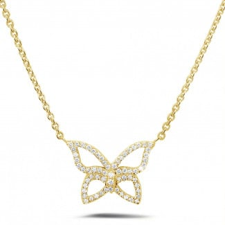 Artistic - 0.30 carat diamond design butterfly necklace in yellow gold