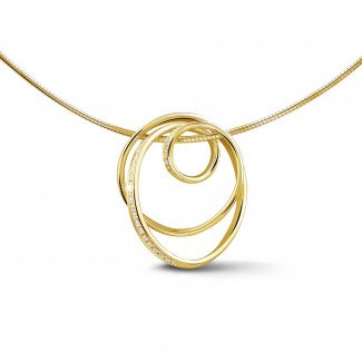 Yellow Gold Diamond Necklaces - 0.48 carat diamond design pendant in yellow gold