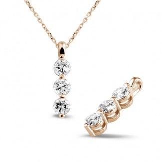 1.00 carat trilogy diamond pendant in red gold