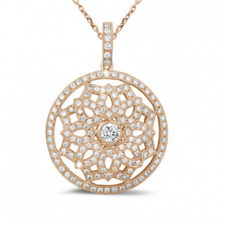 Red Gold Diamond Necklaces - 1.10 carat diamond pendant in red gold
