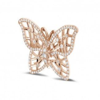 Red Gold Diamond Necklaces - 0.90 carat diamond design butterfly brooch in red gold