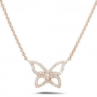 Red Gold Diamond Necklaces - 0.30 carat diamond design butterfly necklace in red gold