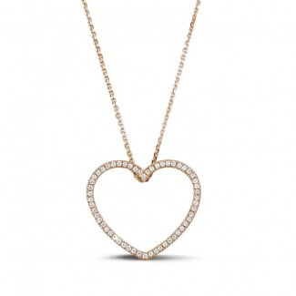 Red Gold Diamond Necklaces - 0.45 carat diamond heart shaped pendant in red gold