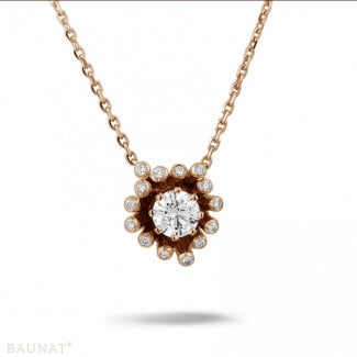 Red Gold Diamond Necklaces - 0.75 carat diamond design pendant in red gold