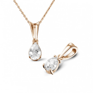 0.50 carat red golden solitaire pendant with pear shaped diamond