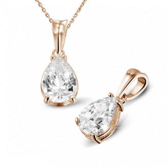 2.50 carat red golden solitaire pendant with pear shaped diamond