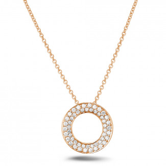 Red Gold Diamond Necklaces - 0.34 carat diamond necklace in red gold