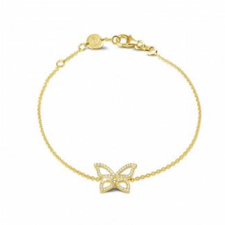 Bracelets - 0.30 carat diamond design butterfly bracelet in yellow gold