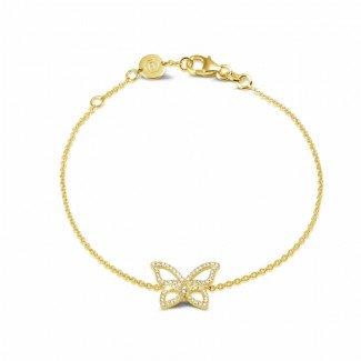 Yellow Gold - 0.30 carat diamond design butterfly bracelet in yellow gold