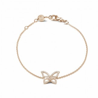 Red Gold - 0.30 carat diamond design butterfly bracelet in red gold
