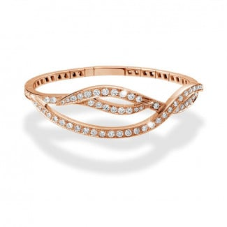 Bracelets - 3.32 carat diamond design bracelet in red gold
