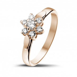 Red Gold Diamond Engagement Rings - 0.30 carat diamond flower ring in red gold