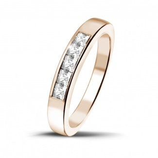 0.50 carat red golden eternity ring with princess diamonds