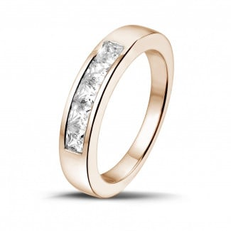 Red gold diamond wedding bands - 0.75 carat red golden eternity ring with princess diamonds
