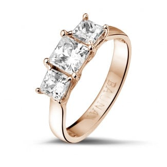 Red Gold Diamond Engagement Rings - 1.50 carat trilogy ring in red gold with princess diamonds