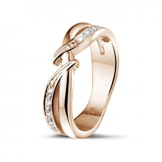 Red gold diamond wedding bands - 0.11 carat diamond ring in red gold