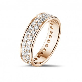 Red gold diamond wedding bands - 1.15 carat eternity ring (full set) in red gold with two rows of round diamonds