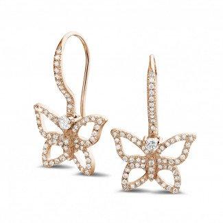 Red Gold Diamond Earrings - 0.70 carat diamond butterfly designed earrings in red gold