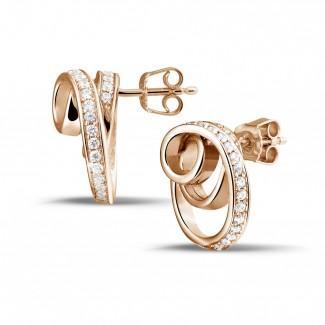 Red Gold Diamond Earrings - 0.84 carat diamond design earrings in red gold