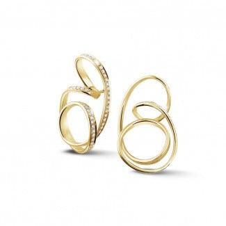 Yellow Gold Diamond Earrings - 1.50 carat diamond design earrings in yellow gold