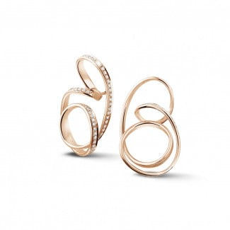Red Gold Diamond Earrings - 1.50 carat diamond design earrings in red gold
