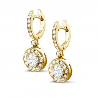 Earrings - 1.55 carat diamond halo earrings in yellow gold