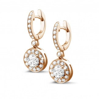 Earrings - 1.55 carat diamond halo earrings in red gold
