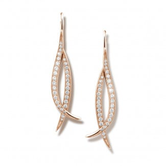 0.76 carat diamond design earrings in red gold