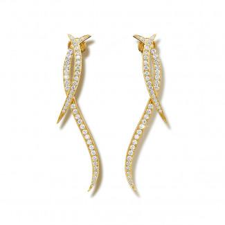 Yellow Gold - 1.90 carat diamond design earrings in yellow gold