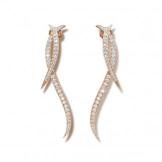 1.90 carat diamond design earrings in red gold