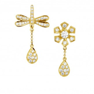 Yellow Gold - 0.95 carat diamond flower & dragonfly earrings in yellow gold