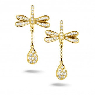 Yellow Gold - 0.70 carat diamond dragonfly earrings in yellow gold