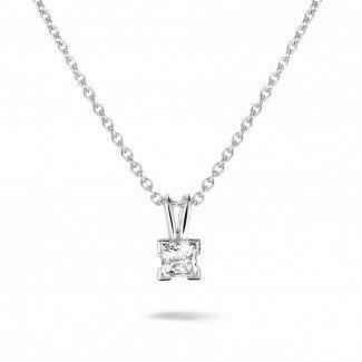 0.50 carat solitaire pendant in platinum with princess diamond