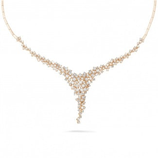 Red Gold Diamond Necklaces - 5.90 carat diamond necklace in red gold