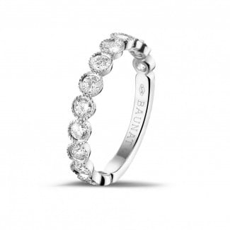 Gold wedding rings - 0.70 carat diamond stackable alliance in white gold
