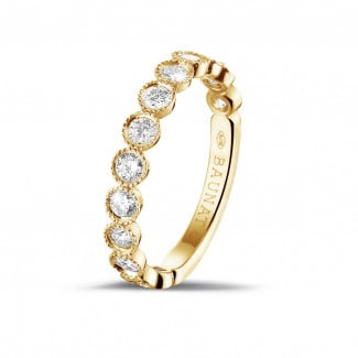 Yellow gold diamond wedding bands - 0.70 carat diamond stackable alliance in yellow gold