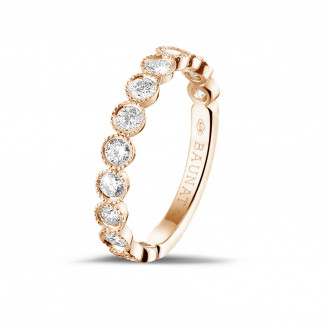 Red gold diamond wedding bands - 0.70 carat diamond stackable alliance in red gold