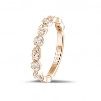 Red gold diamond wedding bands - 0.30 carat diamond stackable alliance in red gold with marquise design