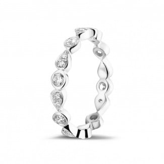 Stackable Rings - 0.50 carat diamond stackable alliance in white gold with pear design