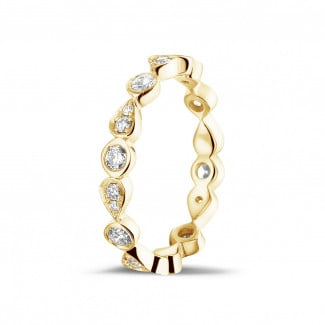 Yellow gold diamond wedding bands - 0.50 carat diamond stackable alliance in yellow gold with pear design