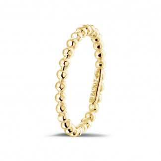 Yellow gold diamond wedding bands - Stackable beaded ring in yellow gold