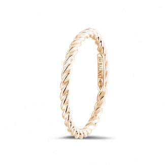 Red gold diamond wedding bands - Stackable twisted ring in red gold