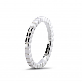 Stackable Rings - Stackable chequered ring in white gold